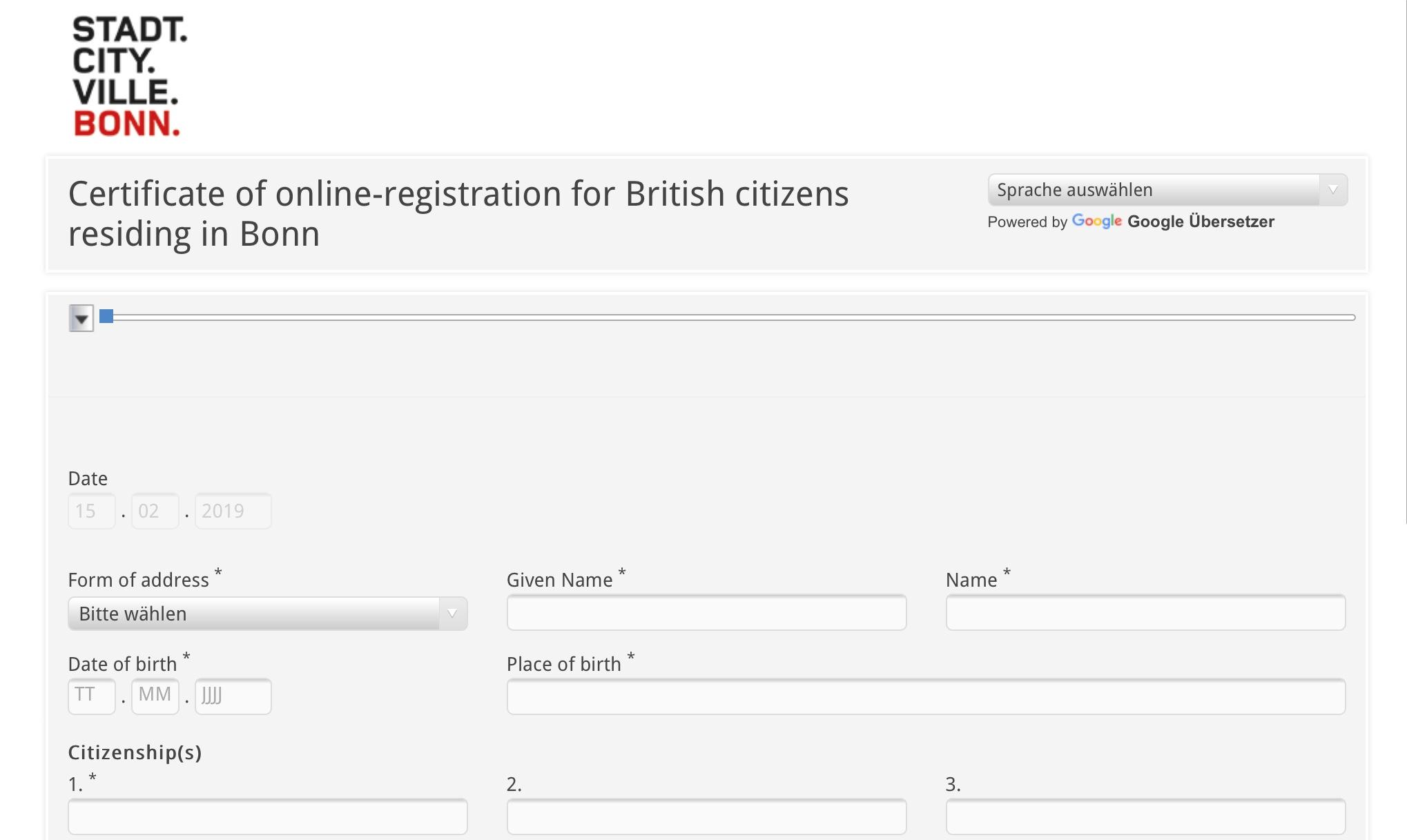 Online-Registrierung für britische Staatsangehörige mit Wohnsitz in Bonn