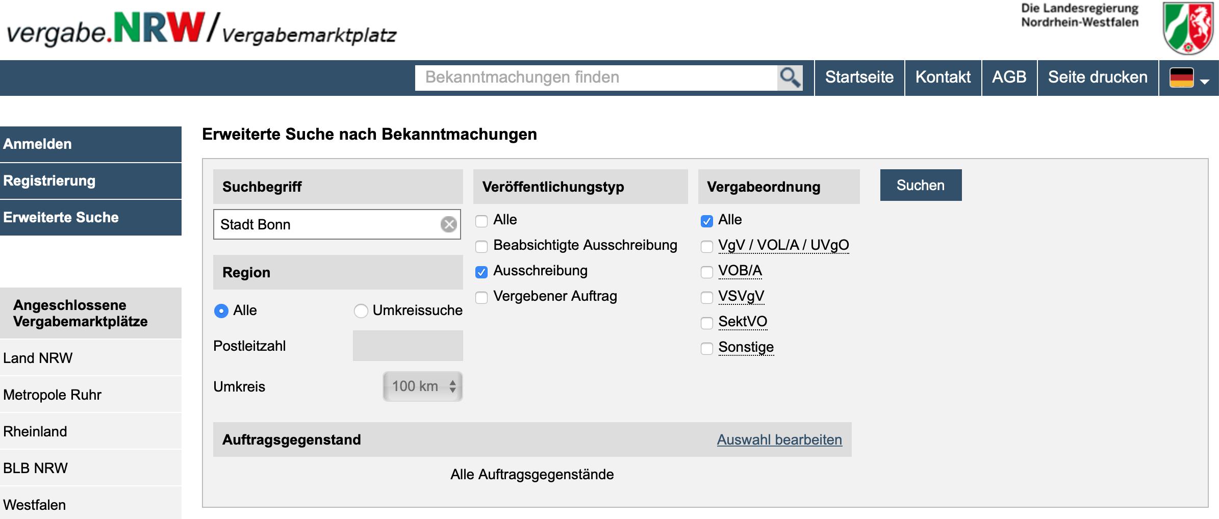 Angebote auf Ausschreibungen der Bundesstadt Bonn nur noch elektronisch