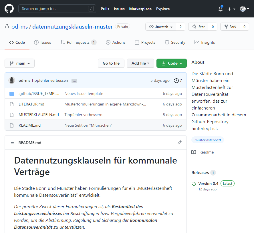 Musterlastenheft Datensouveränitiät – Dialogzeitraum verlängert